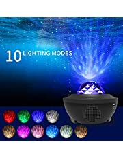 Star Light Projector Led Night Light, 2 in 1 Starry Light & Ocean Wave Projector with Remote Control 10 Colors Changing Music Player with Bluetooth Dimmable, Best Gift for Kids & Adults
