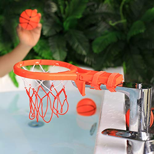 Bath Toy Basketball Hoop & Balls Playset(2 in 1 Design), with 4 balls and Mesh Bag, Bathroom Slam Dunk&Bathtub Shooting Game Gadget, for Kid Boy Girl Child Gift, With Strong Suction Cup and Magic Rop by Punertoy (Image #6)