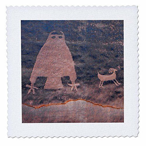 3dRose Danita Delimont - Artwork - Usa, Utah, Owl Panel with big horn sheep, ancient petroglyph - 14x14 inch quilt square (qs_260266_5) (Petroglyph Panel)