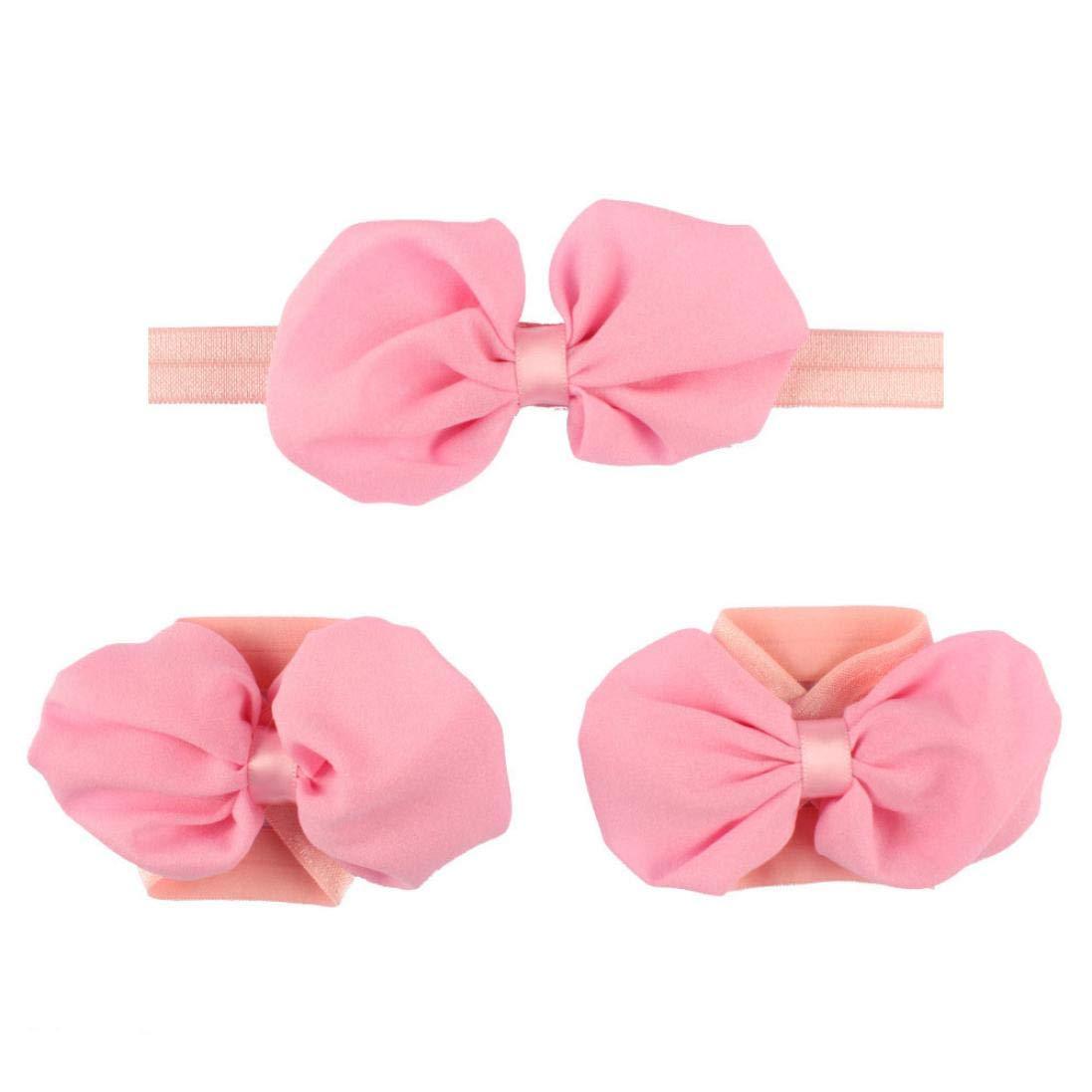 Jinjiums baby hairband,Baby Girls Toddler Flower Bows Hairband Headband Flower Barefoot Sandal Halloween Party (Pink)
