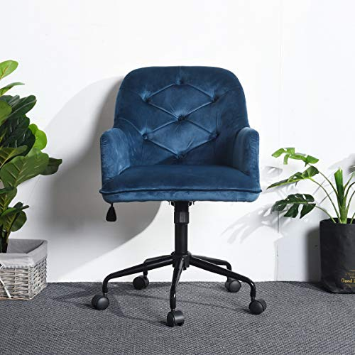 HOMY CASA Modern Swivel Desk Chair with Wheels Mid Back Support Serta Accent Armrest Velvet Fabric Seat with Butterfly Mechanism for Conference Room Home Office Blue
