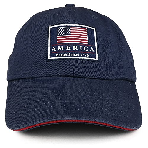(America Established 1776 Embroidered Cotton Washed Twill Baseball Cap - NAVY)