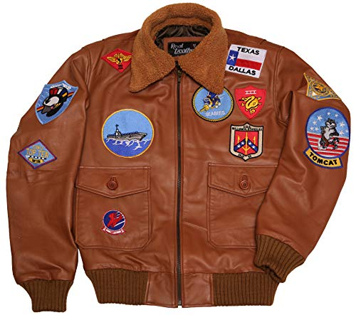 Top Gun Navy Air Force Pilot Tom Cruise Brown Bomber Genuine Leather Jacket (X-Large) ()