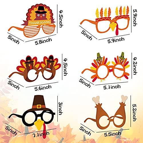 BigOtters Thanksgivings Glasses, 12PCS Turkey Eyeglasses Thanksgiving Day Glasses Cosplay Party Glasses Photo Prop for Thanksgiving Day Christmas Birthday Carnival Party Supplies.