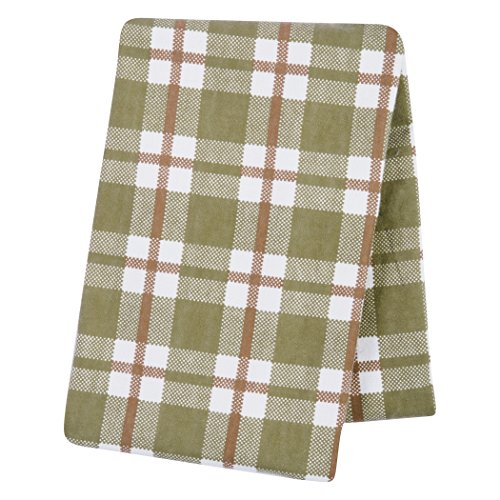 Trend Lab Plaid Deluxe Flannel Swaddle Blanket, Sage/Brown/Cream