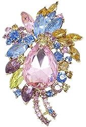 EVER FAITH® Teardrop Flower Austrian Crystal Brooch Pendant