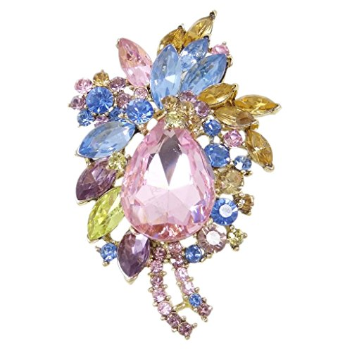 EVER FAITH Women's Rhinestone Crystal Vintage Style Flower Teardrop Brooch Pendant Light Pink Gold-Tone ()