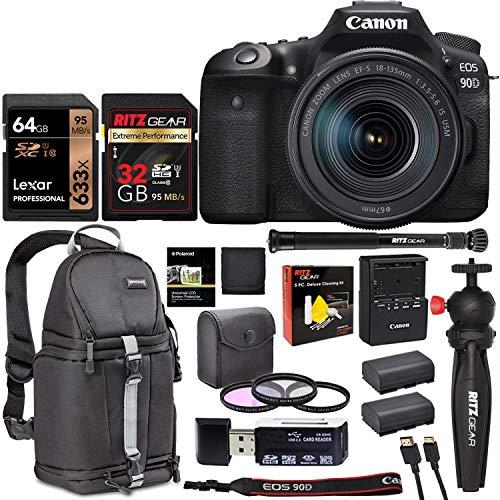 Canon 90D DSLR Camera 18-135mm Lens Kit with Two Memory Cards, Vivitar Sling Camera Bag, Monopod,Tabletop Tripod, Card Reader, Filter Kit Bundle