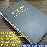 Mustwell 0201 Japan muRata GRM033 Series SMD Capacitor Sample Book Assorted Kit 51valuesx50pcs=2550pcs (0.5pF to 220nF)