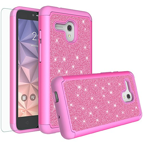 Jitterbug Smart (5.5inch) Case, Glitter Bling Shock Proof Hybrid Case with [HD Screen Protector] Dual Layer Protective Phone Case Cover for Jitterbug Smart Easy-to-Use 5.5 - Hot Pink