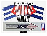 WHOLESALE Box of 144 4''x6'' Cuban Miniature Desk & Table Flags, 12 Dozen 4''x 6'' Cuba Small Mini Stick Flag