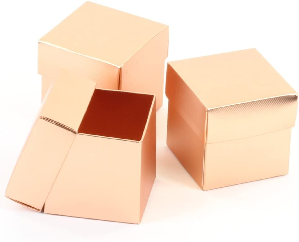 Koyal Wholesale 2-Piece 10-Pack Square Favor Boxes Rose Gold