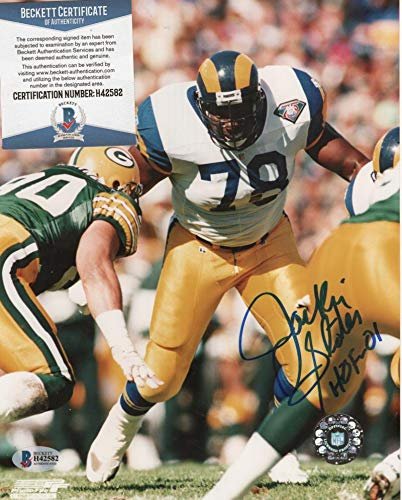 JACKIE SLATER LOS ANGELES RAMS HOF 01 SIGNED 8X10 PHOTO BECKETT H42582 ()
