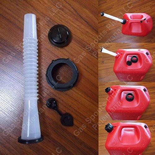 MIDWEST Fix Your PLASTIC GAS CAN SPOUT & PARTS KIT includes Aftermarket Old School Style Semi-rigid Spout w/Gasket, Screw Cap Collar, Stopper Cap & Black Vent Cap for fast smooth pour
