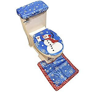 D FantiX Snowman Santa Toilet Seat Cover And Rug Set Blue Christmas Decorations Bathroom Of 3