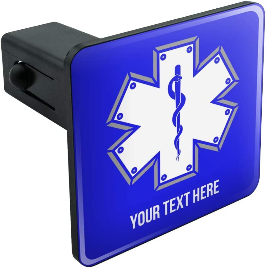 Graphics and More Personalized Custom 1 Line Star of Life EMT RN MD Tow Trailer Hitch Cover Plug Insert
