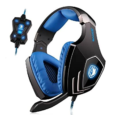 Sades A60 7.1 Surround Sound USB Professional Gaming Headset Headphone With Mic for PC - Bule