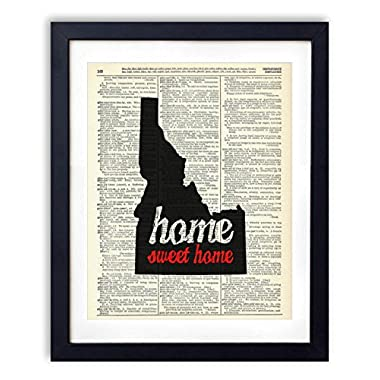 Idaho Home Sweet Home Upcycled Vintage Dictionary Art Print 8x10