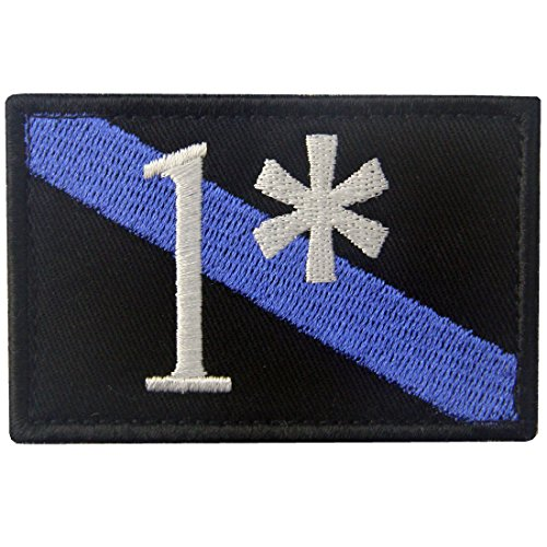 Firefighter Patch One Ass to Risk 1 Thin Blue Line Embroidered Tactical Applique Morale Hook & Loop Emblem (1 Velcro Patch)