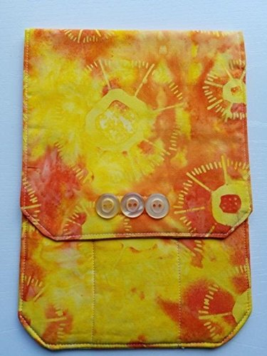 Padded Travel Pouch for Quilting, Needlework, Artist Tools or Jewelry (Primary Fabric - 100% Cotton Orange/Yellow Batik)