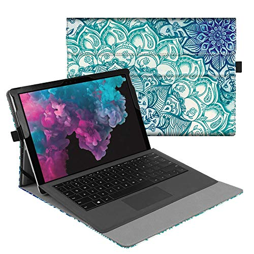 Fintie Case for Microsoft Surface Pro 6 / Pro 5 / Pro 4 / Pro 3 / Pro LTE - Multiple Angle Viewing Portfolio Business Cover, Compatible with Type Cover Keyboard (Emerald Illusions) - Surfaces Pattern