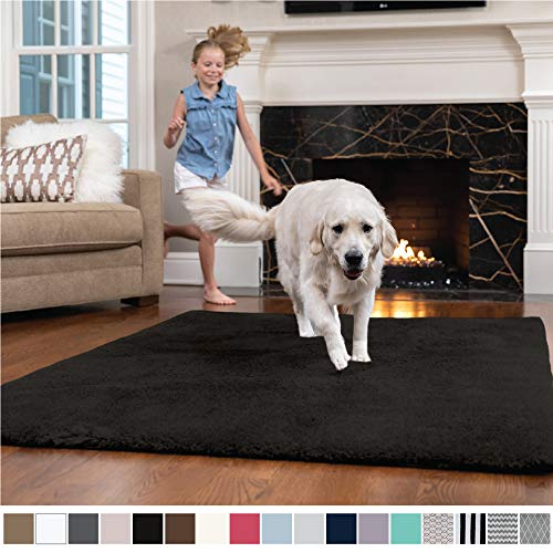 GORILLA GRIP Original Faux-Chinchilla Nursery Area Rug, (5' x 7') Super Soft and Cozy High Pile Machine Washable Carpet, Modern Rugs for Floor, Luxury Shag Carpets for Home Bed/Living Room (Black)