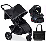 Britax B-Free / B-Safe 35 Infant Baby Stroller Travel System - Pewter / Midnight with Diaper Bag
