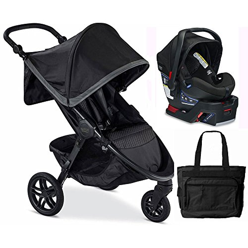 Britax B-Free / B-Safe 35 Infant Baby Stroller Travel System - Pewter / Midnight with Diaper Bag by Britax USA
