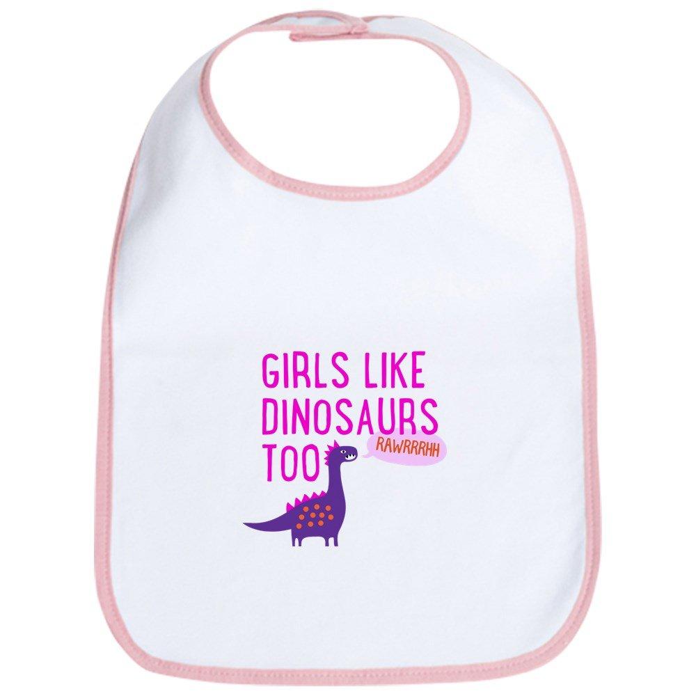 CafePress - Girls Like Dinosaurs Too RAWRRHH - Cute Cloth Baby Bib, Toddler Bib