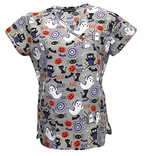 Cassandra Women's Halloween Medical Nursing Tie Back Scrub Top Shirt (Grey Boo, Small) -