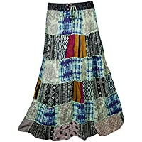 Mogulinterior Womens Long Skirts Vintage Ethnic Printed Flowy Boho Gypsy Indian Patchwork Skirts