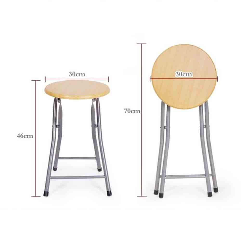 Amazon.com: YCSD New Quality Wood Color Round Folding Chair Stool Breakfast Back Chair (Color : Folding Stool): Kitchen & Dining