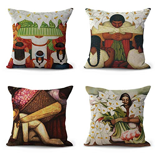 (Set of 4 Diego Rivera Art Cushion Covers Pillow case Wholesale Home Decor Accessories)