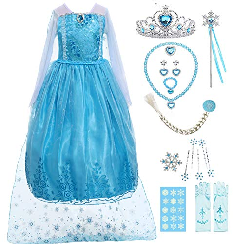 (IWIWB Girl Queen Princess Costume Sequin Long Dress Snow Birthday Outfit Accessories (4, Blue))