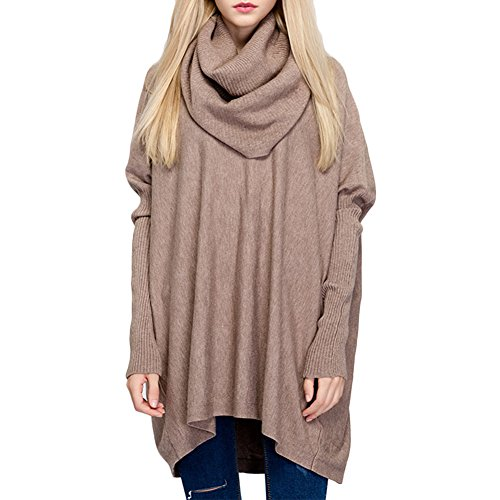 Ashlen Women's Fitted Long Sleeve Cowl Neck Oversize Knit Sweater Tan OS