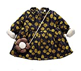 Toddler Girls Dresses Plus Velvet Printed Thicken Fall Winter With Cute Love Bag For 12Month -3Year Baby Girl's (12-18Month, Dark Blue)