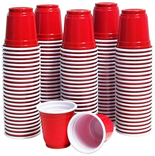 120 Shot Glasses 2oz Red Plastic Disposable Mini Party Cups for Jello Shots, Jager Bomb, Beer Pong, Sauces, Dipping, Condiments, Samples ()