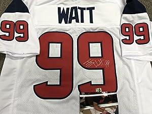 JJ Watt Autographed Signed Houston Texans Custom White Jersey WATT Player Hologram & Photo W/Signing