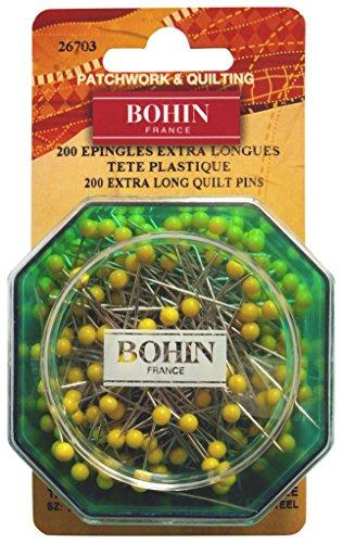Bohin 26703 Yellow Head Quilting Pin Size 28 - 1 3/4in 200ct by Bohin