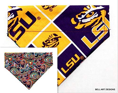 Bell Art Designs Dog Bandana, Over The Collar, Reversible, LSU, Louisiana, Extra Extra Small, 229 ()