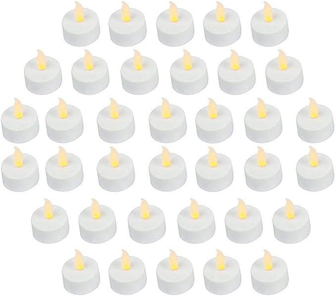 Paquete de 36 velas LED realistas y brillantes funcionan con pilas parpadeantes sin llama, 3,5 x 4,2 cm de alto, velas falsas eléctricas con pilas incluidas, color amarillo