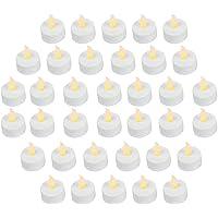 Lot de 36réaliste et lumineux à piles vacillante sans flamme Bougie chauffe-plat LED bougies, 3.5cmx4.2cm de hauteur, prise de courant électrique Faux Bougie avec piles incluses–Jaune–Petit