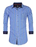 GloryStar Men's Casual Classics Oktoberfest costumes Turn-down Collar Long Sleeve Check Shirt Blue and White Checked XXL