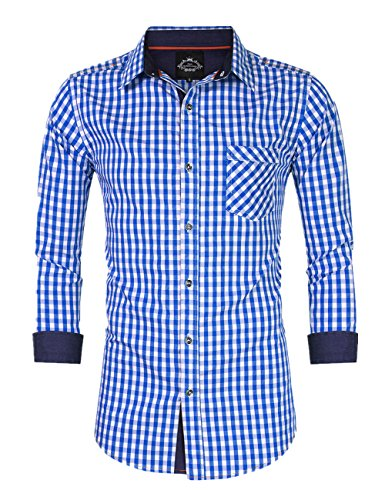 GloryStar Men's Casual Classics Oktoberfest costumes Turn-down Collar Long Sleeve Check Shirt Blue and White Checked XXL by GloryStar (Image #7)