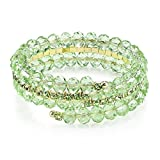 1928 Jewelry Gold-Tone and Peridot Color Bead Coil Bracelet