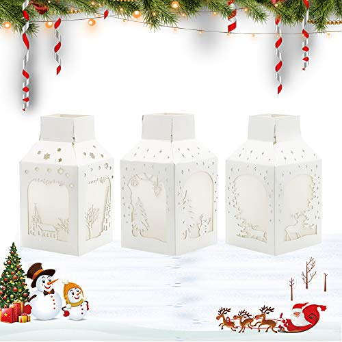 Lighted Christmas Decorative Lantern Battery Powered - Indoor Christmas Table Centerpiece Decor for Dining Room ,Tabletop Christmas Lights for Bedroom,3PCS (Christmas Centerpieces Unique)