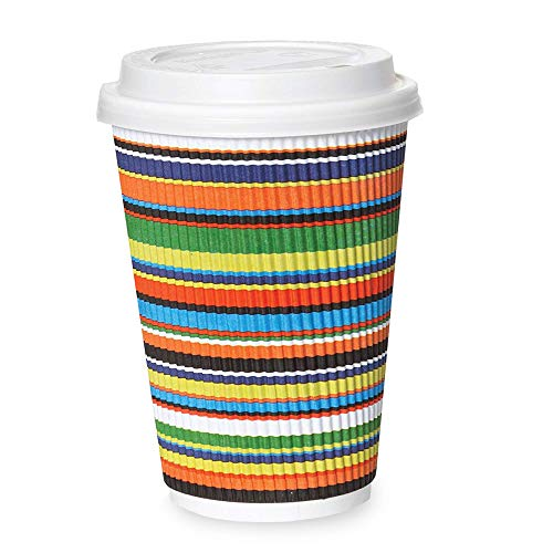 50 Pack - 12 oz Disposable Coffee Cups with Lids - To Go Hot Coffee Cup, Insulated & Recyclable Striped Multicolor Ripple Paper Travel Cups ()