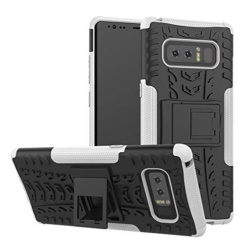 Galaxy Note 8 Case,ARSUE Hard Silicone Rubber Hybrid Armor Shockproof Protective Case Cover with Kickstand for Samsung Galaxy Note 8 (2017) - White