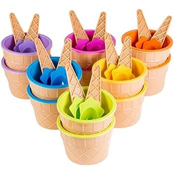 Amazon.com | Greenco Vibrant Colors Ice Cream Dessert Bowls and ...