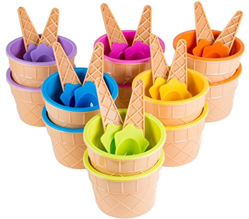 Sundae Ice Cream Frozen Yogurt Cups with Spoons - Ice Cream Dessert Bowls Pack of 12 (Ice Cream Sundae Party)